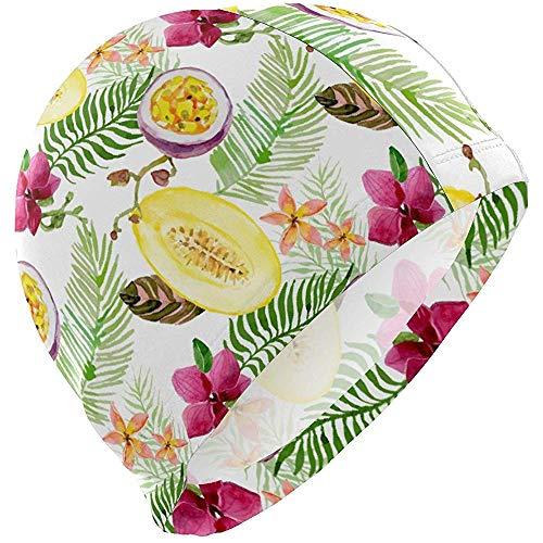 Bonnets de Bain Plante Fruits Tropicaux Palm Passion Bonnet De Bain Chapeau Étanche Baignoire Douche Cheveux Couverture