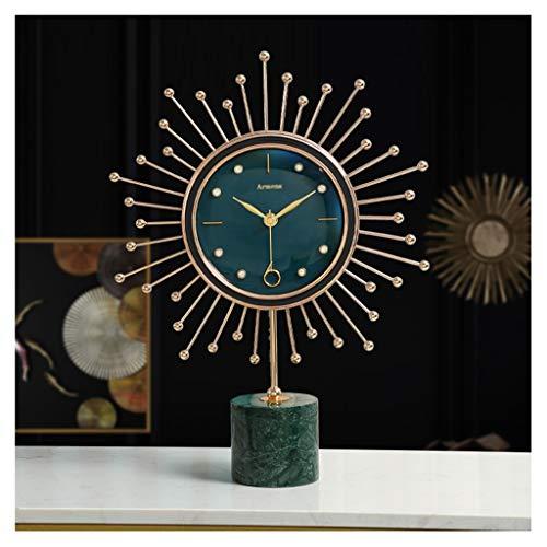 Reloj de escritorio Marco de mármol nórdico reloj 18k marco chapado en oro moderno de la mesa de la mesa de la mesa de la mesa de la mesa de la sala de estar sencillos adornos de escritorio con baterí