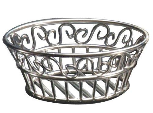 "American Metalcraft SSLB94 9"" Round Stainless Steel Scroll Bread Basket"