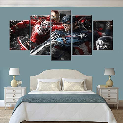 KWzEQ Anime Held Filmplakat Dekoration HD 5 Stück Wohnzimmer Wanddekoration Künstler Home Dekoration,Rahmenlose Malerei,40x60cmx2, 40x80cmx2, 40x100cmx1