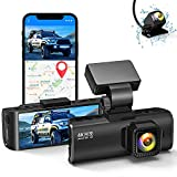 Dual Dash Cam Built-in WiFi GPS Front 4K/2.5K and Rear 1080P Dual Dash Camera for Cars,3.16' Display,170° Wide Angle Car Dashboard Camera Recorder with Night Vision,Support 256GB Max