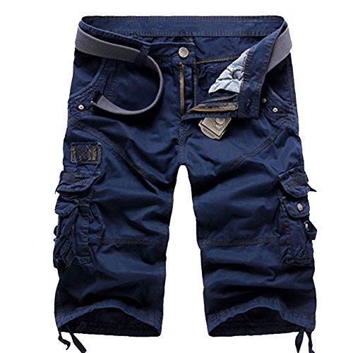 MISSMAOM Uomo Pantaloni Corti Bermuda Cargo Shorts con Tasconi Laterali Pantaloncini da Allenamento Militari Marina Militare 36