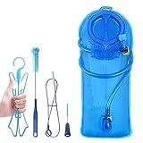 TAGVO Hidratación Vejiga 2 litros BPA Libre 70oz + Kit de Cepillo de Limpieza, Bolsa de Agua con Valor de Cierre y Boquilla de succión, fácil Limpieza con el Kit de Cepillo de Limpieza