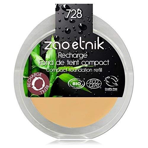 Zao Refill Compact Foundation 728 clair ocre clair/beige/jaune maquillage compact de recharge (Apprêt) (Bio, vegan, cosmétique naturel) 111728