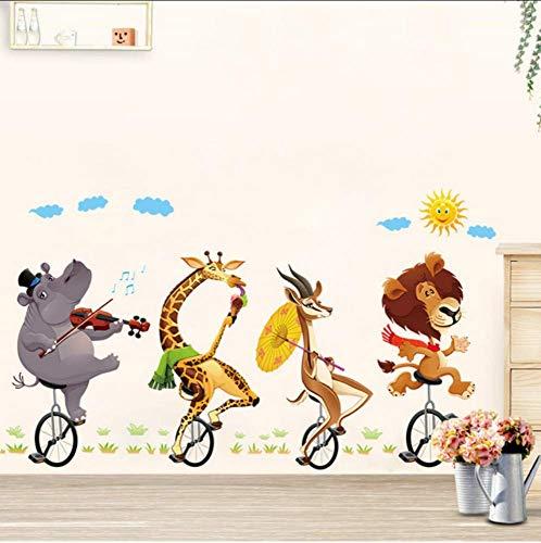 Cartoon Wald Tier Reiten Fahrrad Wandaufkleber Hippo Giraffe Antilopen Aufkleber Schlafzimmer Wandbild