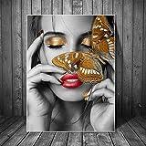 UIOLK Cara de Mujer de Arte nórdico con Cartel de Arte de Lienzo de Mariposa e Impresiones en la Imagen de Arte de Lienzo de Pared