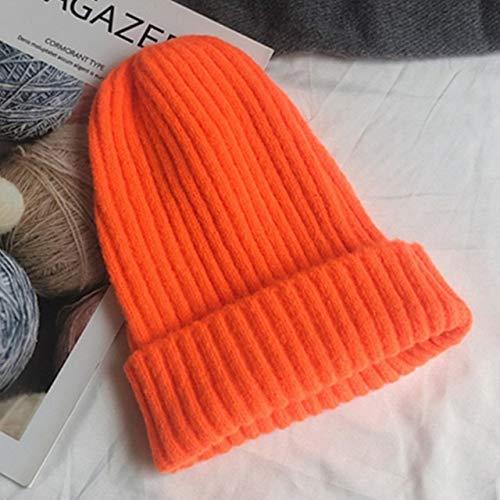 Nuevo Gorro Liso de Punto, cálido, Suave, de Moda, Sombreros de Invierno, Estilo Coreano Simple, Gorras Casuales para Mujer, Gorro Elegante para Todos los Partidos-Orange
