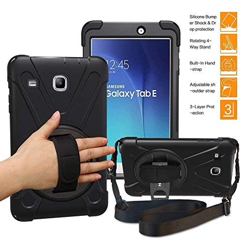 TSQ Samsung Galaxy Tab E 8.0 Case with Strap,T377 Case Heavy Duty Shockproof Dropproof Durable Hard Rugged Protective Defender Case with Handle Hand Strap/Stand for Samsung Tab E 8 Tablet,Deep Grey