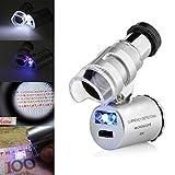 gaddrt Mini 60x Mikroskop Lupe mit LED UV-Licht Tasche Schmuck Lupe Juwelier Lupe