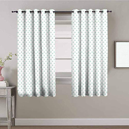 Green Heat Insulation Curtain Retro Pattern with Polka Dots in Pastel Color Baby Nursery Theme Old Fashioned Waterproof Fabric Mint Green White W84 x L84 Inch