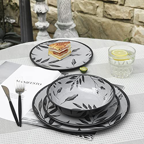 12pcs Melamine Dinnerware Set, Camping Dishes, Dinner Plates and Bowls Set for Picnic RV Use, Unbreakable, Dishwasher Safe