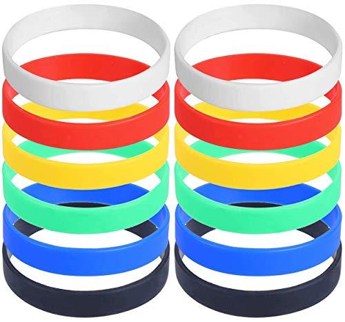 VEYLIN シリコン リストバンド アクセサリー ゴム ブレスレットシンプル 無地 6色 12本セット