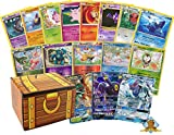 100 Assorted Pokemon Cards - 2 GX Ultra Rare Cards (200 HP or Higher), 4 Holographic Cards, 94 Commons/Uncommons Includes Golden Goundhog Treasure Chest Storage Box!
