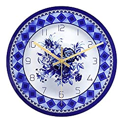 ufengke Modern Silent Wall Clock Blue and White Porcelain Glass Quartz Clocks for Kitchen Dining Room Living Room 12