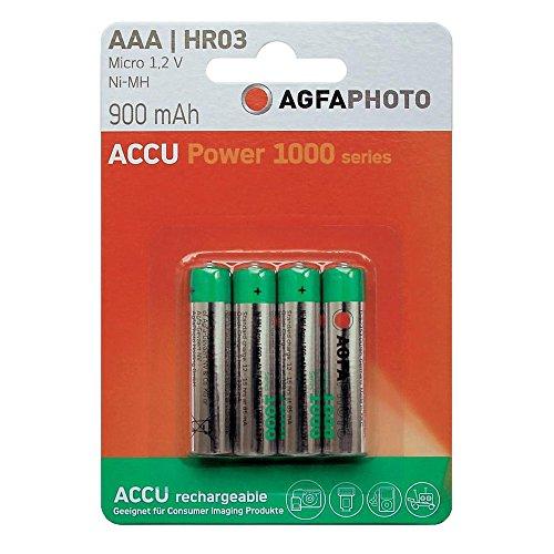 AgfaPhoto Batterijen 1x4 AgfaPhoto Akku NiMh Micro 900 mAh, Níquel e Hhidruro Metálico, 900 mAh, 1.2 V