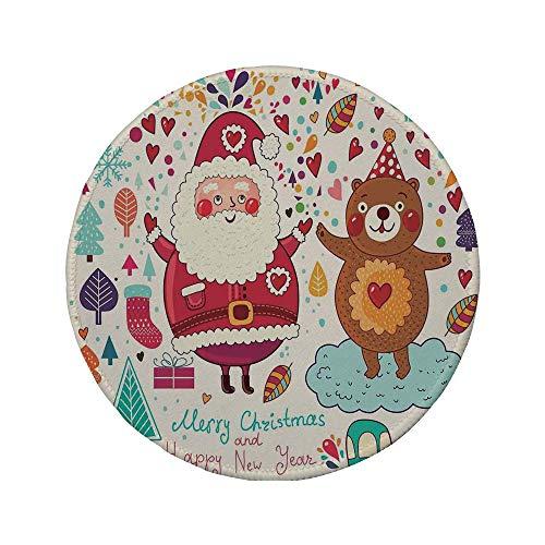 Rutschfreies Gummi-rundes Mauspad Weihnachtsdekorationen Weihnachtsmann und Teddybär Vintage Weihnachtsschmuck Party Kinder Kinderzimmer Dekor Multi 7,9 'x 7,9' x3MM
