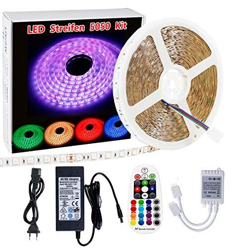LED Streifen Lichter Sparke 5050 RGB LED Streifen 10m 600led LED Band Leiste Kit & RF 28 Tasten + 24V Neteil LED Stripes geeignet für DIY Weihnachtsfeiertags Küchenschrank Beleuchtung/Innenbe
