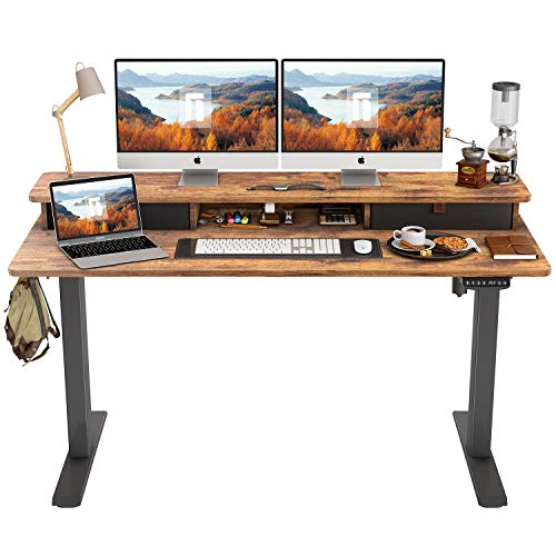 FEZIBO Height Adjustable Electric Standing Desk with Double Drawer, 55 x 24 Inch Stand Up Table with...