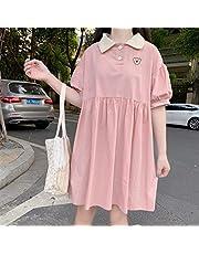 Mcttui Lolita kleding Lolita Jurk Streetwear Shirt Jurk Dames Zomer Korte Mouw Kawaii Sweet Girls Midi Jurken Holiday Chic A-Line Populaire Losse revers Soft Japans