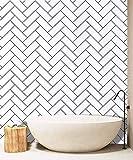 Wood Geometric Texture Peel and Stick Wallpaper Shiplap White/Black Self-Adhesive Removable Wallpaper,Waterproof Shelf Liner,Kitchen Home Design Furniture Renovation 17.7''x118.1''