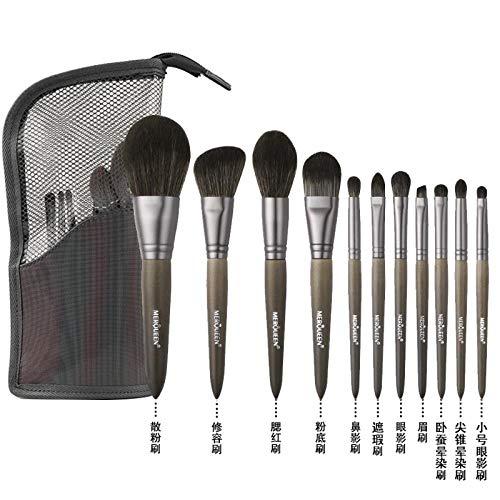 Pinceau De Maquillage Set Foundation Foundation Fard À Paupières Brush Tool Wool, 11 Brushes E