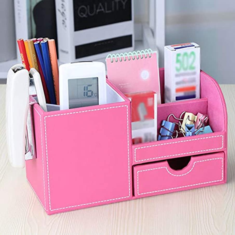 Storage Case Box Gift PU Leather Waterproof Exterior Drawer Type Pen Container Remote Controller Multifunctional Home Office Desk Organizer Decoration Large Capacity Compartment(Rose Red)