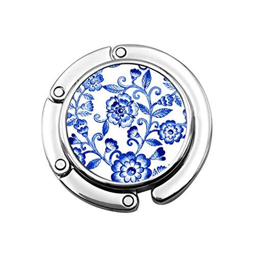 Blaue Blumen Elegant Ziemlich Faltbare Handtaschenhalter Für Tisch Handtaschenhalter Für Mädchen Einzigartige Designs Faltabschnittsspeicher Moderner Taschenhalter