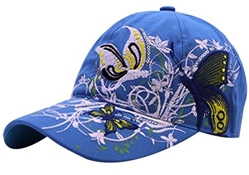 Belsen Mädchen Schmetterlings-Stickerei- Vintage Baseball Cap Snapback Trucker Hat (Erwachsene blau)