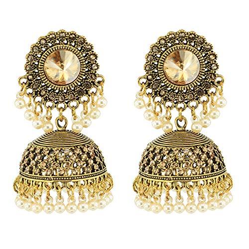 Pendientes de rejilla india un par de borlas de borlas hechas a mano de aleación de oro dorado pendientes étnicos tradicionales pendientes