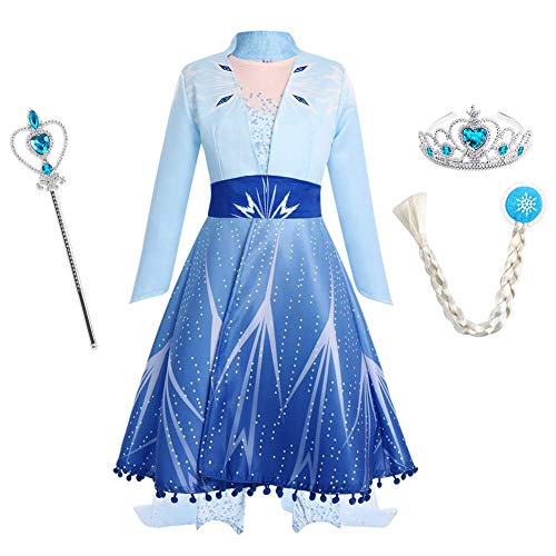 IWEMEK Mädchen Eiskönigin ELSA Kleid Schneekönigin Prinzessin Kostüm Schneeflocke Tüll Kleid + Mantel + Hose + Zubehör Weihnachten Karneval Verkleidung Geburtstag Partykleid Blaue Outfits 5-6 Jahre