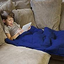 Rest Easy Navy - Manta Pesada para niños y Adultos, Manta Pesada para Dormir, Alivio del estrés, Alivio de la ansiedad y calmante sensorial para un Gran sueño, 100% algodón súper Suave