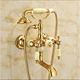 TAPS Cascada Bañera de baño de Oro Grifo Jade Manija Mano Ducha Cabeza Grifo Bañera Faucet Set Ducha Grifo Set Taps Incomparable