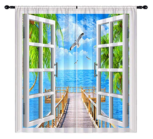 ANHOPE Beach Blackout Curtains, Open Windows with Tropical Ocean Palm Tree Pier Seagull 3D Pattern, Rod Pocket Room Darkening Window Drapes for Living Room Bedroom, 2 Panels, 84 X 63 Inch