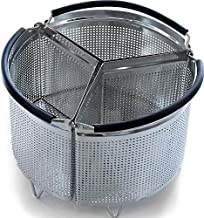 3-Piece Divided Steamer Basket for Pressure Cooker Compatible with Instant Pot Accessories Ninja Foodi Other Mullti Cookers, Strainer Insert Can Cook 3-in-1 (8 Qt - Divider Basket)