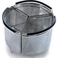3-Piece Divided Steamer Basket for Pressure Cooker Compatible with Instant Pot Accessories Ninja Foodi Other Mullti Cookers, Strainer Insert Can Cook 3-in-1 (6 Qt - Divider Basket)