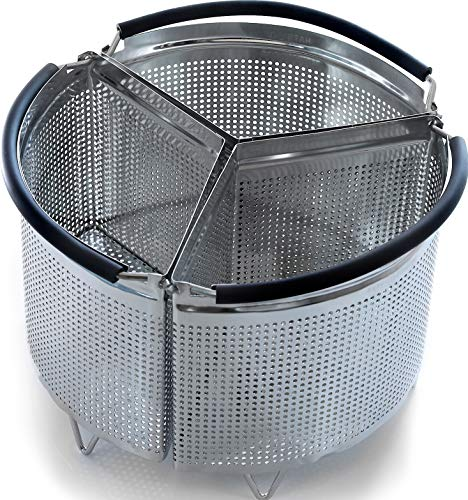 3-Piece Divided Steamer Basket for Pressure Cooker Compatible with Instant Pot Accessories Ninja Foodi Other Mullti Cookers, Strainer Insert Can Cook 3-in-1 (6 Qt - Divid...