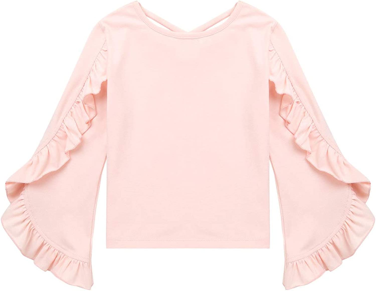 Aislor Big Girls Solid Color Ruffles Flare Long Sleeve Top Spring Autumn T-Shirt with Cross Straps Back for Performance