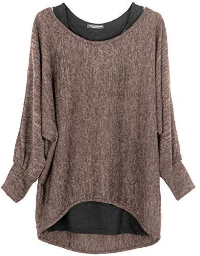 Emma & Giovanni - Damen Oversize Oberteile Tshirt/Pullover (2 Stück) / Made In Italy, S-M,  Braun