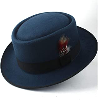 2019 Mens Womens Hats Unisex Men Women Flat Top Pop Church Soft Autumn Winter Fashion New Pork Pie Hat with Feather Porkpie Church Fascinator Jazz Hat Casual Outdoor Wild