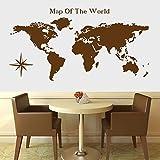Adhesivo decorativo para pared con diseño de mapa del mundo, para sala de estar y pared, 50 x 50 cm