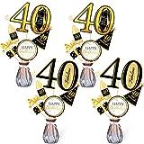 Qpout Oro Negro Palitos de Centro de Mesa de 40 cumpleaños-40 cumpleaños Toppers-Decoraciones de cumpleaños Accesorios de Fiesta- 40 Fabuloso -me Alegra a 40 años