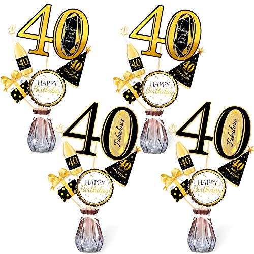 Qpout Black Gold 40th Birthday Centrotavola-40th Birthday Table Toppers-Accessori per Decorazioni per Feste di Compleanno- 40 Fabulous -Bday Party Saluti a quarant'anni Birthday Party