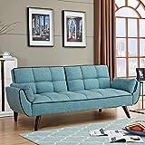 stilprojectstore divano letto clic clac in tessuto imbottito e legno - erika