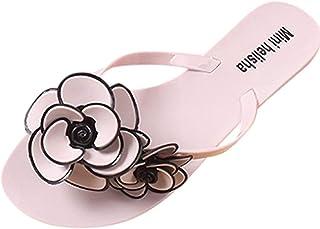 UULIKE Tongs Sandales Plates Femme,Confort Bout Ouvert Plage Sandales Fleurs décoration Été Mode Loisirs Chaussons Casual ...