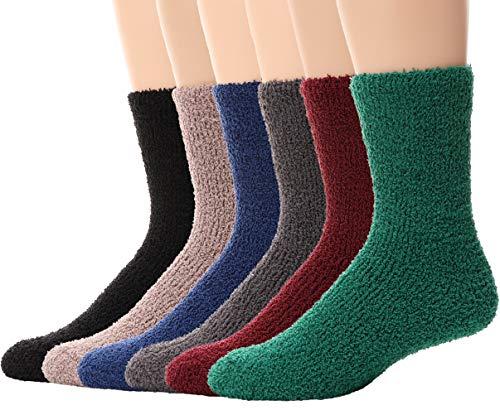 Mens Fuzzy Socks 6 Pairs Slipper Fluffy Warm Winter Fleece Sleep Stocking Stuffer Cabin Cozy Soft Adult Plush Socks (Style D, 6 Pairs)