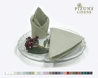 Pizuna Soft Absorbent Cotton Cloth Dinner Napkins Light Sage 12pc 14 Inch x 14 Inch, 100% Long Staple Cotton Sateen Weave Rich Sheen Reusable Lunch Napkins (100% Cotton Light Green Napkins)