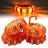 4 Pack LED Safety Flares Road Emergency Lights DIBMS Roadside Safety Flashing Warning Flare Light Kit Beacon Disc for Vehicle Truck Car Boat 9 Flash Modes Emergency Signal (Batteries Not Included)