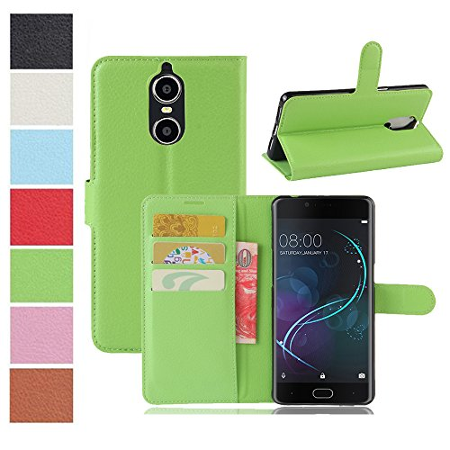 MAXKU DOOGEE Shoot 1 Hülle, Premium PU Leder Mappen Kasten für DOOGEE Shoot 1 Smartphone, Grün