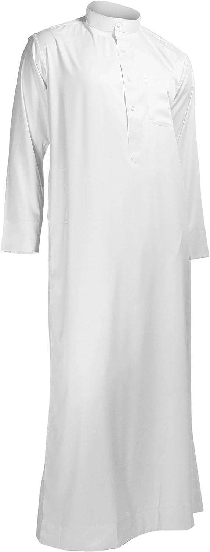 Hijaz White Formal Fitted Men's Thobe Dishdasha Polished Cotton Luxury Arab Robe - 58