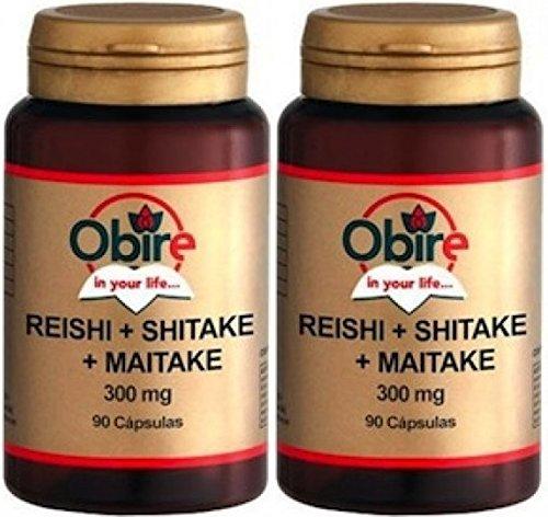 Obire   Suplemento Alimenticio de Reishi + Shitake + Maitake 300 mg   Complemento Alimenticio a Base de Hongos   Fortalece el Sistema Inmune   90 Cápsulas Pack 2 Unidades